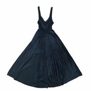 *hp 2x* Vtg Olga Satin & Lace Long Black Nightgown